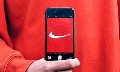 A picture of the Nike's symbol through the phone's camera